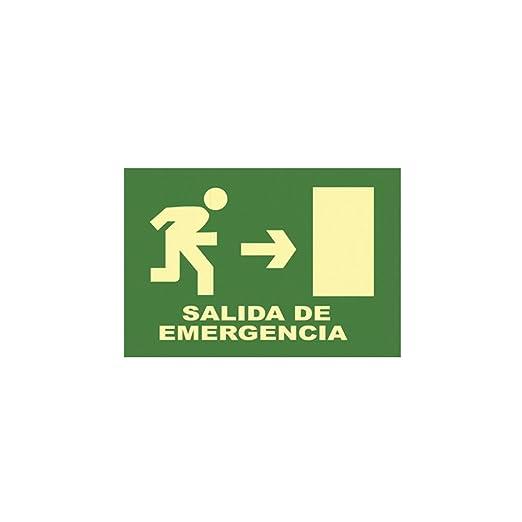CARTEL SEÑAL SALIDA DE EMERGENCIA (DR) 32 X 16CM: Amazon.es ...