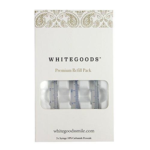 3 Syringe Refill (WHITEGOODS Teeth Whitening Gel Syringe Refill Pack, (3) 3ml 18% Carbamide Peroxide Syringes)