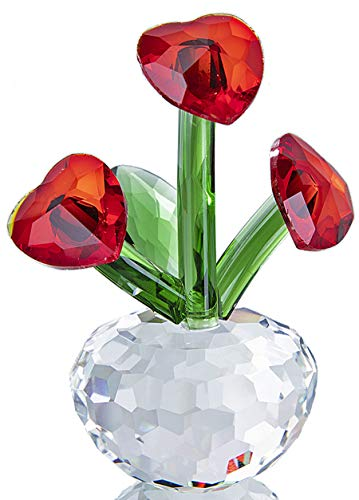 - Qf Crystal Forever Flower with Heart-Shaped Red Crystal Petals Collectibles Figurine Crystal Ornaments
