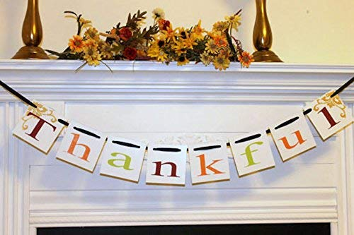(Thankful Banner-Thansgiving Banner Garland -Fall Decorations-Fall Mantle Garland, Give Thanks banner)