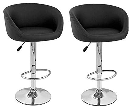 Incredible South Mission Isu Faux Leather Modern Adjustable Bar Stool Set Of 2 Black Machost Co Dining Chair Design Ideas Machostcouk