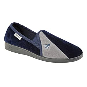 Dunlop Duncan Mens Velour Twin Gusset Slippers