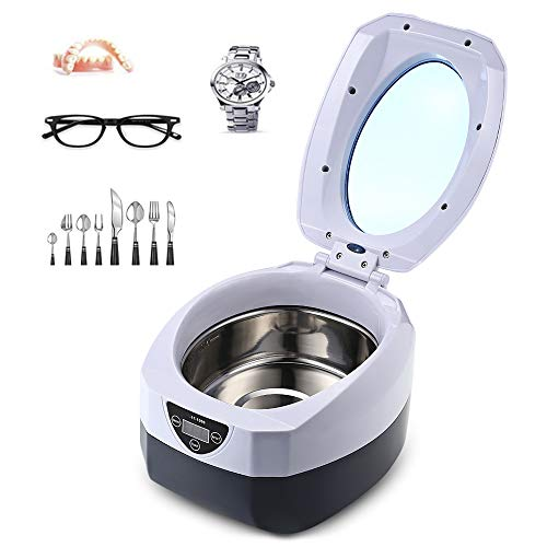 Ultrasonic Polishing Jewelry Cleaner with Digital Timer for Cleaning Eyeglasses Rings, Dentures, Retainers, and Mouth Guards(0.75L)