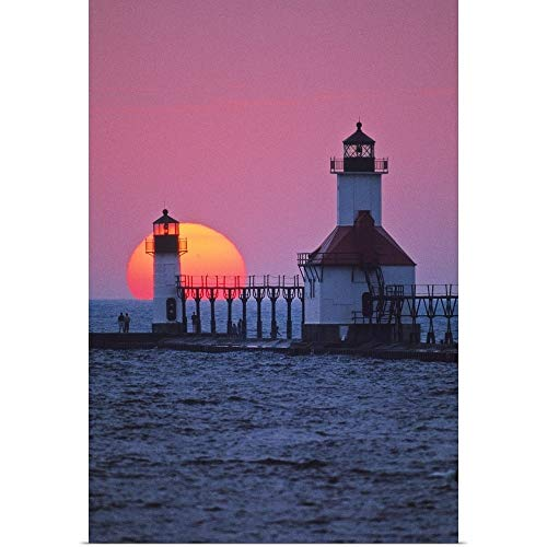 (GREATBIGCANVAS Poster Print Entitled Lighthouse at Sunset, St. Joseph, Michigan by Panoramic Images 12