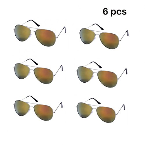 WODISON Wholesale Vintage Reflective Mirror Lens Metal Frame Aviator Party Sunglasses Bulk Lot Glasses 6 Pack