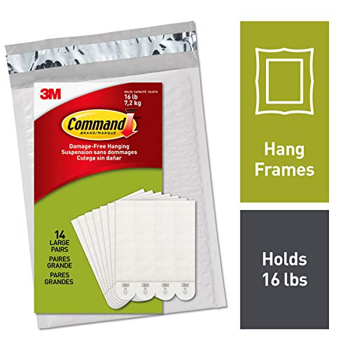 - Command Picture Hanging Strips, Decorate Damage-Free, Large, Holds 16 lbs, 14 pairs (36 strips), Easy to Open Packaging (PH206-14NA)