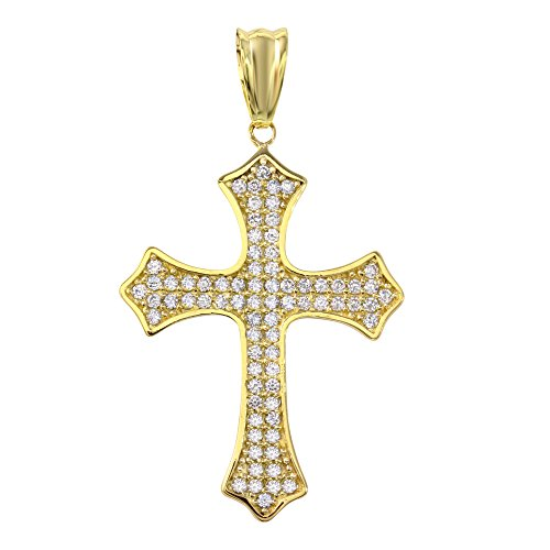 - Religious by Jewelry America Solid 14K Gold Eastern Orthodox Cubic Zirconia Cross Crucifix Charm Pendant