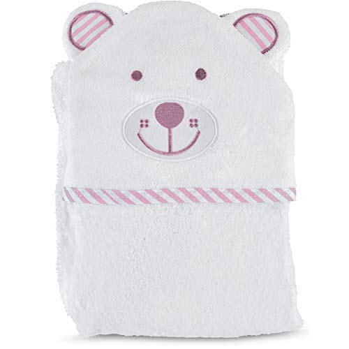 Organic Bamboo Hooded Towel and Washcloth Set - The Ultimate Soft, Thick & Hypoallergenic Bath Towel with Hood for Infants, Babies & Toddlers- Excellent Baby Shower Gift for Baby Boys & Girls (Pink)
