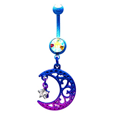 Pierced Owl Purple and Blue Ombre Crescent Moon and Star Crystal Dangling Belly Button Navel Ring