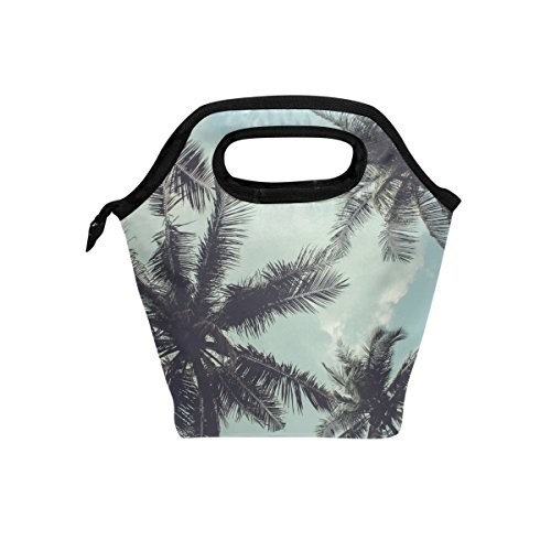 TropicalLife Lunch Tote Bag Hawaii Beach Zipper Insulated Cooler Reusable, Tropical Palm Tree Lunchboxes Portable Lunch Bags Handbag for Adult Men Women Kids Boys Girls by TropicalLife