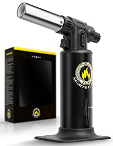 Kitchen Torch | Culinary Torch For Creme Brulee | Butane Blow Torch For Home & Pro Chefs | Safety Lock & Adjustable Flame | Free Bonus: Stand & BBQ Recipe E-Books | By XPERTS FLAME. (BLACK)