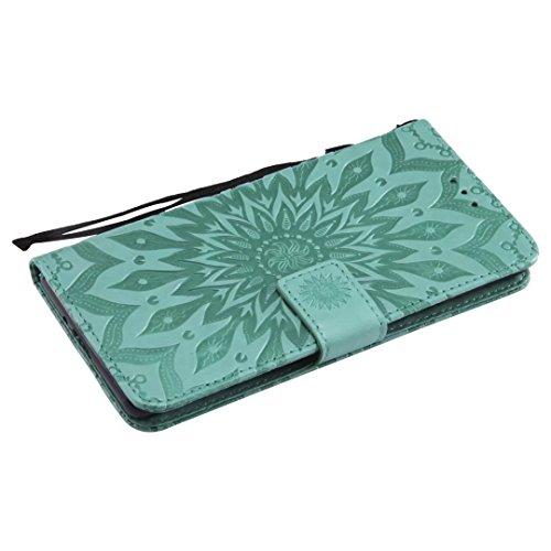 Sportellino Pelle Sony Premium Morbida Coperchio Fessura Xperia Ougger Verde Calotte Portafoglio Carta Magnetica blu Protettiva Rivestimenti Fioritura Xz2 Fiori OIIrw4