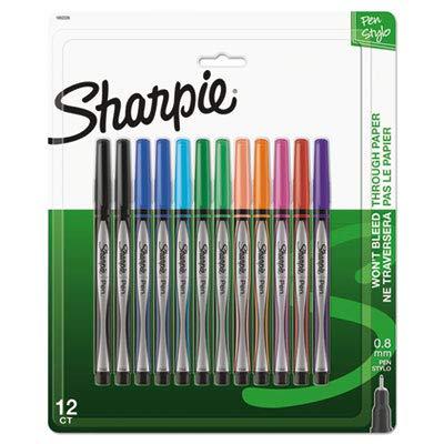 Black Fine Point Barrel (Sharpie(R) Pens, Fine Point, 0.3 mm, Black/Silver Barrels, Assorted Ink Colors, Pack of 12)
