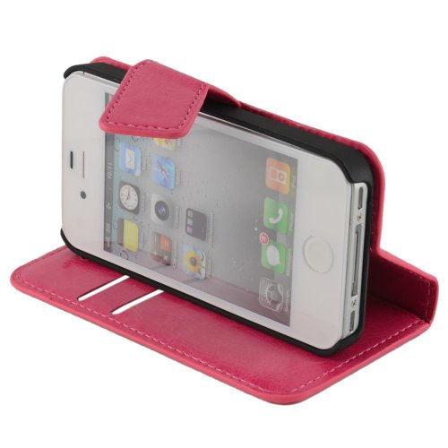 N17 Pink Handytasche im Bookstyle für Apple iPhone 4 4G 4S Schutzhülle Schutzschale Schale Bumper Tasche Etui Case Hülle