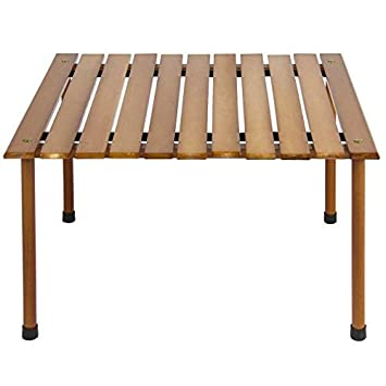 Best Choice Products Foldable Portable Wooden Table for Picnic, Camping, Beach, Patio Furniture with Carrying Case – Brown