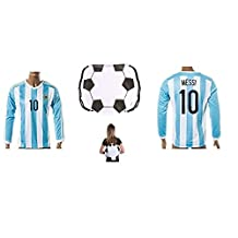 Argentina Home Messi Kids #10 Soccer Kit Long Sleeve Jersey and Shorts All Youth Sizes