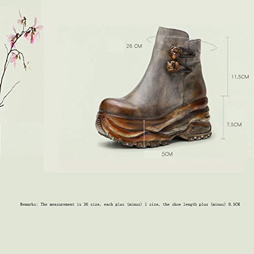 Yan Al Caminar Invierno Aire Mujer Cuero Botas Plataforma Otoño Para Confort Cuña Cordones Moda Botines De Un Libre Zapatos Con r0xnIZqar