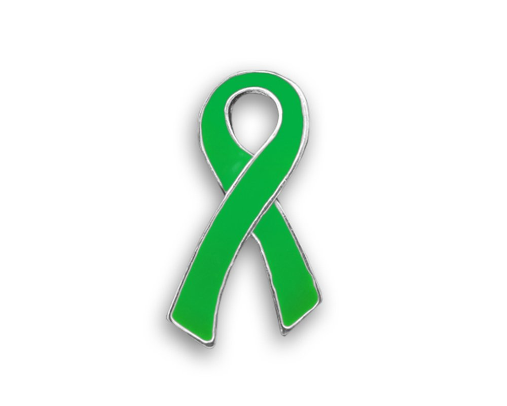50 Pack Green Ribbon Awareness Pins - Large Flat (Wholesale Pack - 50 Pins) by Fundraising For A Cause