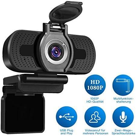 LarmTek Cámara web 1080P Full HD con cubierta de cámara web,cámara de computadora portátil para conferencias y videollamadas,cámara web Pro Stream con videollamadas Plug and Play,micrófono incorporado