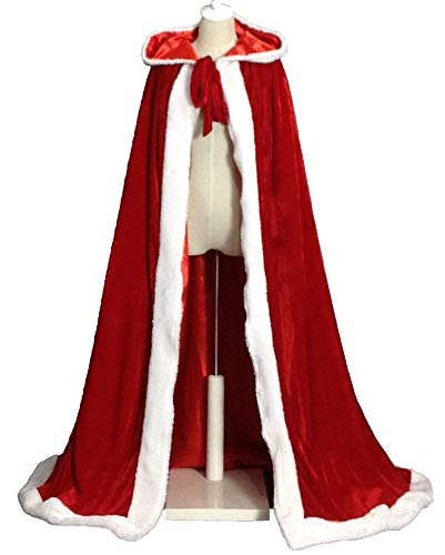 LuckyMjmy Women's Christmas Cloak Deluxe Mrs Santa Hooded Cape Costume (Long, Red) -