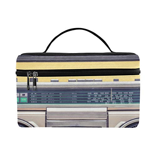 (Old Radio And Headphones On Table Pattern Lunch Box Tote Bag Lunch Holder Insulated Lunch Cooler Bag For)