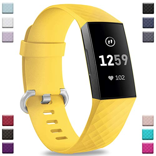Hamile Bands Compatible with Fitbit Charge 3, Waterproof Replacement Watch Strap Fitness Sport Band Wristband for Fitbit Charge 3 Charge 3 & Charge 3 SE, for Women Men, Small, Yellow