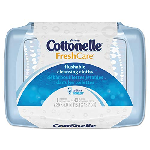Cottonelle 36734CT Fresh Care Flushable Cleansing Cloths, White, 3.75 x 5.5, 42 per Pack (Case of 8 Packs) Cottonelle Flushable Moist Wipes