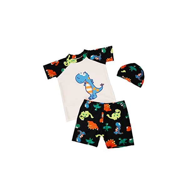 JT-Amigo Maillot de Bain Combinaison Anti-UV Bébé Enfant, T-Shirt + Shorts + Bonnet 1