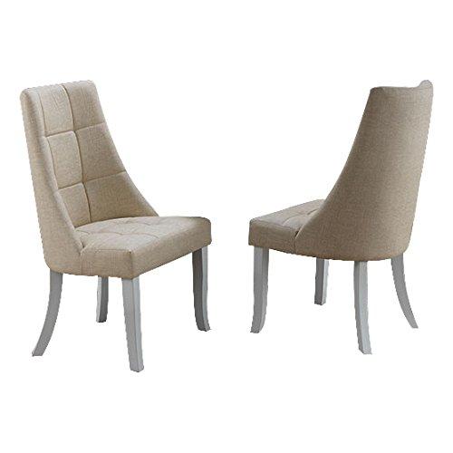 Kings Brand Milan Beige Vinyl Upholstery Kitchen Dinette Dining Room Side Chairs, Set of 2