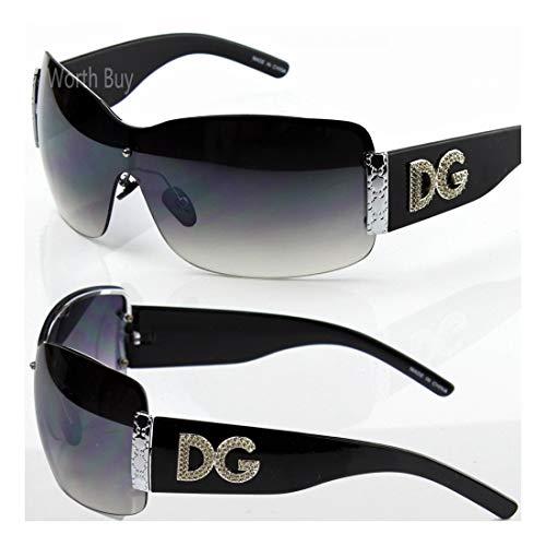 (Womens DG Eyewear Fashion Designer Shield Wrap Sunglasses Shades Black)