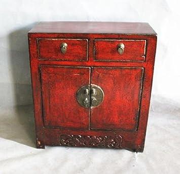 Nachttisch Chinese Furniture Nachttisch Klein Antik 20. Jahrhunderts  Shanxi China Schrank Handgemalt Glänzend Rot
