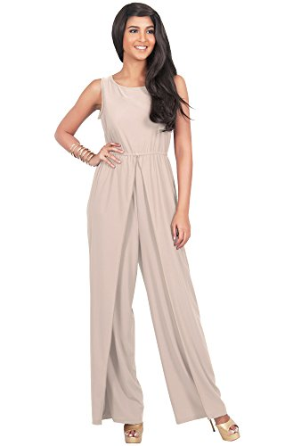 KOH KOH Plus Size Womens Sleeveless Flared Summer Round Neck Jumpsuit Casual Romper Cute Cut Keyhole Perfect Cocktail Formal Playsuit Overall, Color Light Brown, Size Extra Large XL 14-16