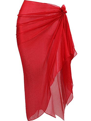 Hestya Women Pareo Swimsuit Beach Swimwear Gradient Color Bikini Sarong (Red)