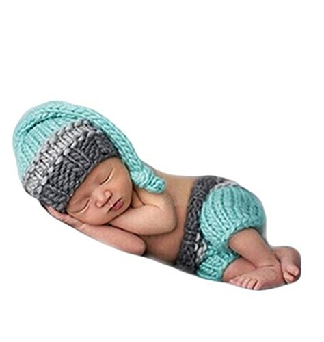 Ufraky Baby Photo Photography Prop Crochet Knitted Blue Hat Pants Costume Outfits