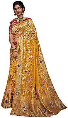 Baranasi - Blusa de seda amarilla con corte de perlas, estilo sari, para novia, cristiana, india, pesada, para mujer: Amazon.es: Bricolaje y herramientas