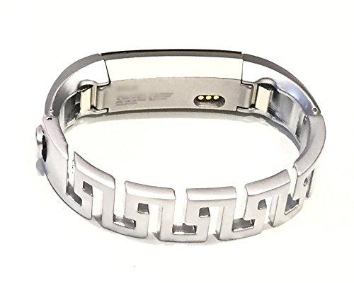 Small Greek Key (BSI Metal Luxury Band For Fitbit Alta Activity Tracker Elegant Silver Matte Greek Key Design 6