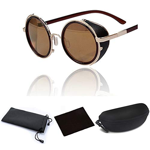 (JJLHIF Hot Steampunk Retro Style 50s Silver/Golden and Black Frame Round Mirror Lens Glasses Blinder Sunglasses for Men Women Outdoor Beach (Gold)