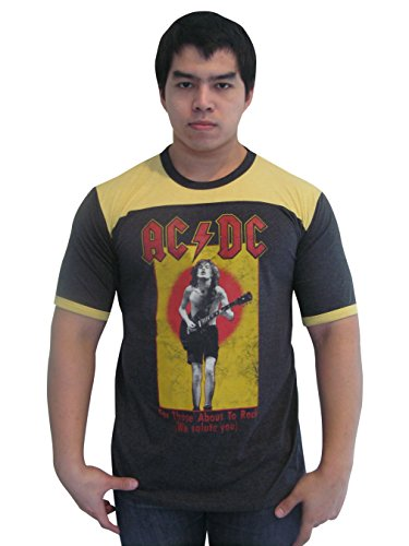 - BUNNY BRAND Men's AC DC For theose about to rock Ringer T-Shirt Jersey Thin Soft (Large)