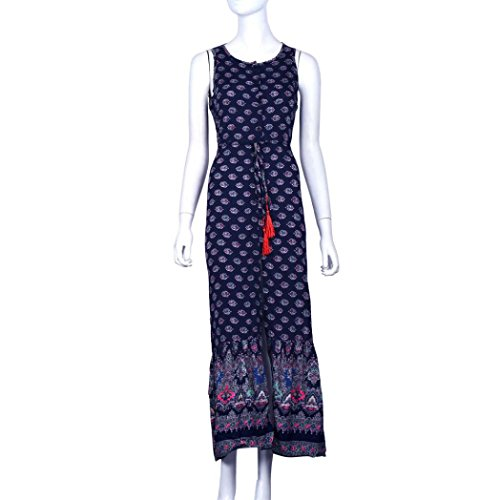 Gotd Women Sexy Strap Backless Sleeveless Split Open Fork Dress Dark Blue (L) by Goodtrade8 (Image #2)