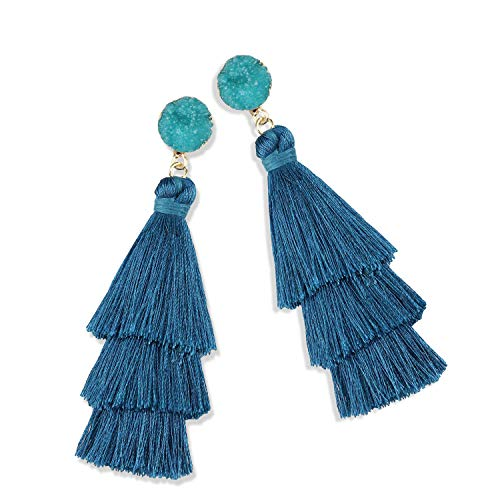 Statement Tassel Earrings for Women Drop Dangle Handmade Tiered Thread Layered Bohemian Beach Party Girl Novelty Fashion Summer Accessories - E3 Peacock Blue
