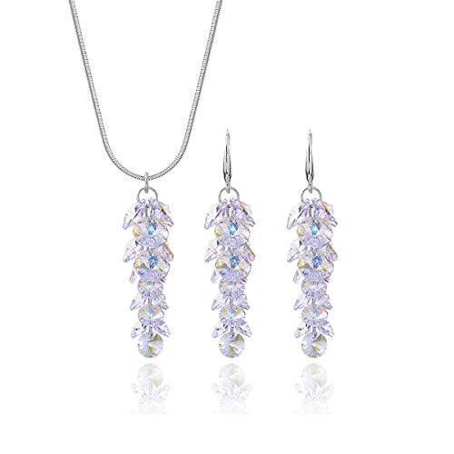 (Swarovski Crystal Bridal Jewelry Set Sterling Silver Luxurious Round Cubic Zirconia CZ Floral Leaf Cluster Linear Pendant Necklace Dangle Earring Set for Women Girls Long Wedding Gala Jewelry Set)