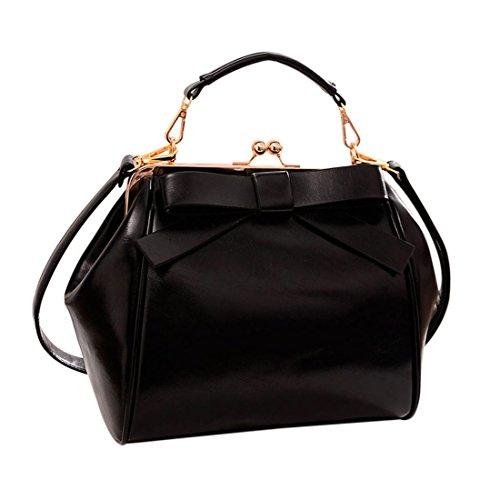 Qianle Women PU Leather Cute Bow Patten Handbag Purse Girls Cross-Body Bag Black