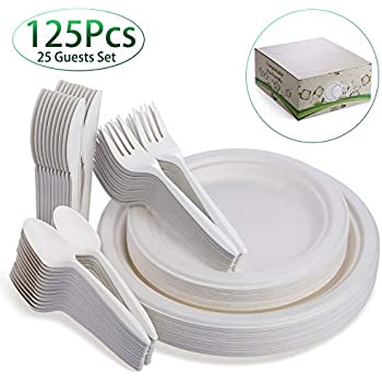 Fuyit 125Pcs Disposable Dinnerware Set, Compostable Sugarcane Cutlery Eco-Friendly Tableware, Microwavable Biodegradable Paper Plates, Forks, Knives and Spoons Combo for Party, Camping, Picnic (White)