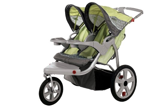 InStep Safari Swivel Wheel Double Jogger, Green/Gray