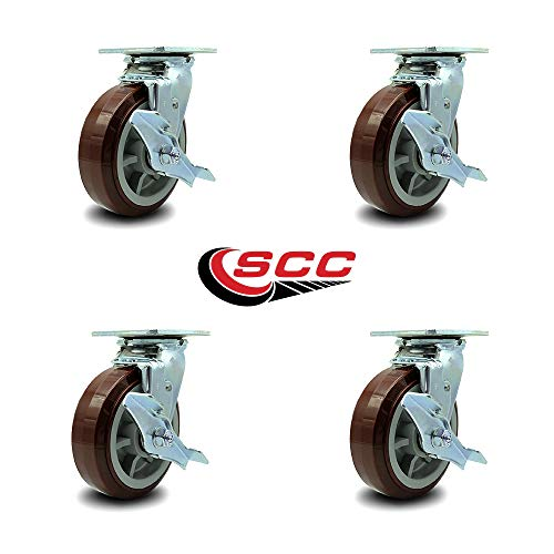 Service Caster - 6'' Heavy Duty Polyurethane Wheel Swivel Casters w/Top Locking Brakes - Non Marking - 750lbs/caster - Set of 4 by Service Caster (Image #4)