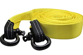 DiversityWrap 13.5T Tow Strap Heavy Duty Tow Rope Towing Pull Strap Recovery Winch 4x4 Offroad With 2x Shackles Yellow (5m (16.4ft))