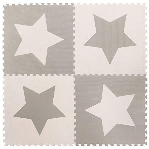 Soft Rubber Star Foam - 4 Large Interlocking Grey Foam Baby Play Mat Star Tiles - Play Mats. Each tile 24 x 24ins. Total 48 x 48in.