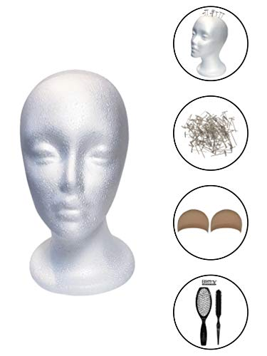 Styrofoam Mannequin Head for Wigs with Female Face (Including T-Pins, Detangling Hair Brush Combo & Natural Nude Wig Caps) Wig Making, Wig Styling & Display Mannequin Foam -