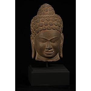 HD Asian Art 18th Century Thai Dvaravati Stone Buddha Head Statue 47