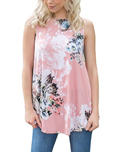 Vemvan Womens Summer Casual Floral Print Sleeveless Loose Tank Blouses And Tops Pink Flowered Sleeveless Dress